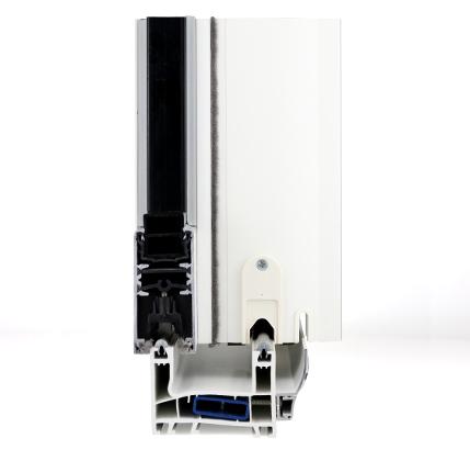 Vue en coupe d'une fenêtre coulissante mixte PVC Aluminium Ikar FenêtréA