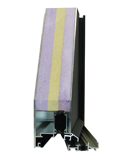 vue en coupe d'une porte menuisée en aluminium FenêtréA