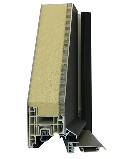 Vue en coupe d'une porte d'entrée menuisée mixte Aluminium PVC