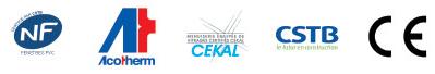 Logos des labels FenêtréA, NF , Acotherm, CEKAL, CSTB,CE pour la fenêtre coulissante mixte PVC aluminium FenêtréA