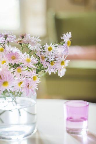 image d'illustration de la fenêtre Harmonia, verre d'eau rose et bouquet de fleurs
